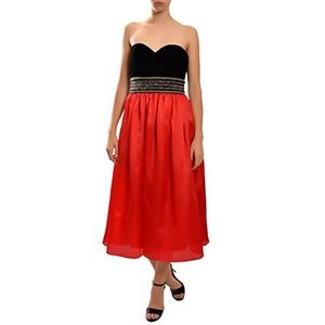 Badgley Mischka Black & Red Beaded Waist Dress